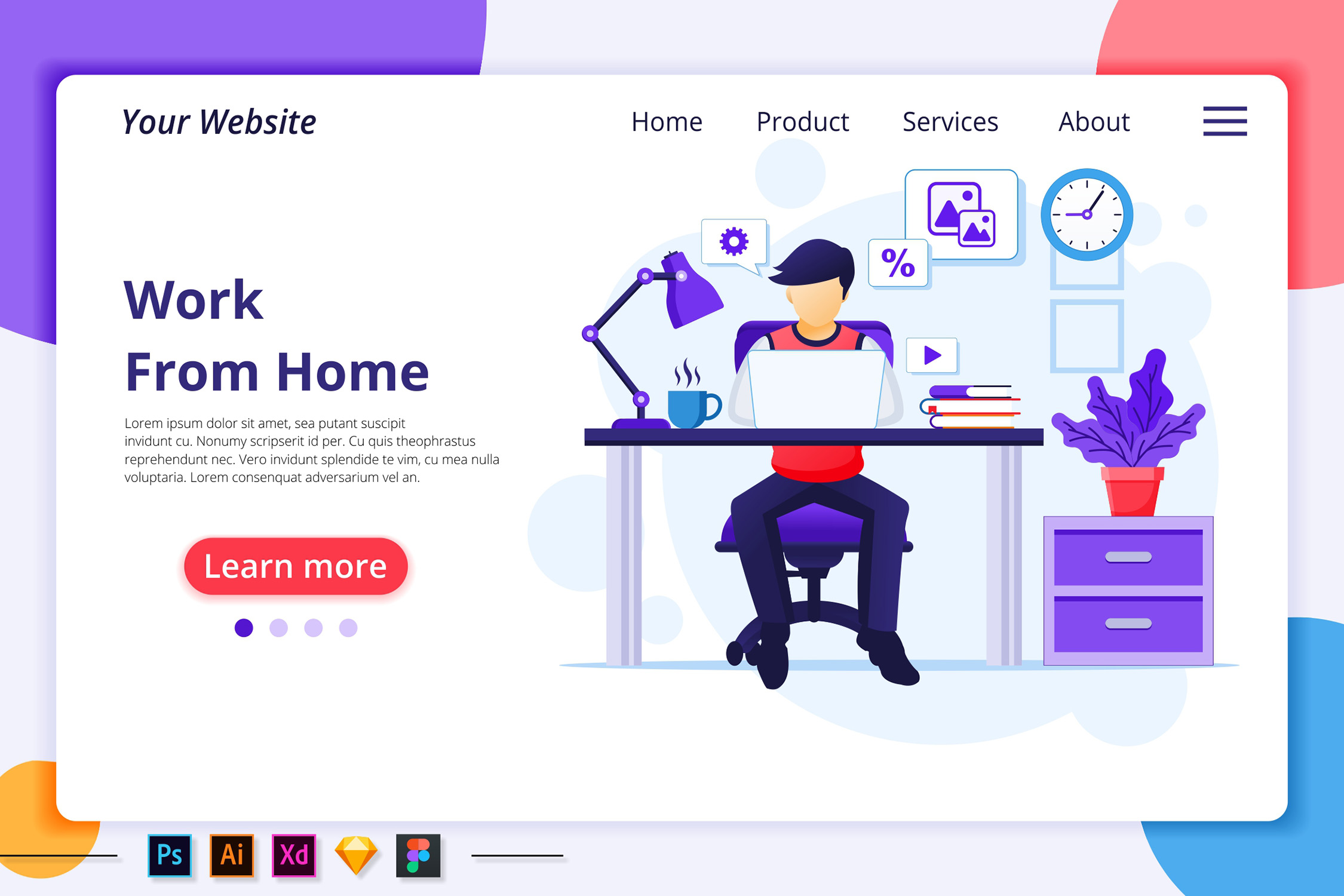 Download Free Work From Home Stay Home Landing Page Graphic By Agnyhasya for Cricut Explore, Silhouette and other cutting machines.