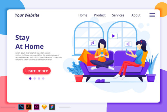 Work from Home, Stay Home Landing Page Graphic Landing Page Templates By agnyhasya.studios
