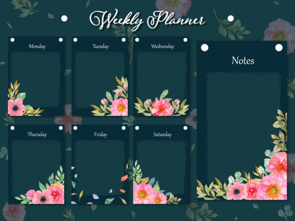 Set of Weekly Planner Collection Graphic Print Templates By minkumako23