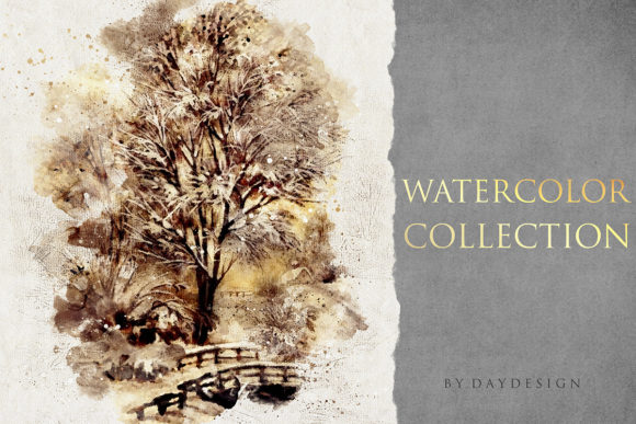Abstract Watercolor Collection Graphic Textures By DAYDESIGN