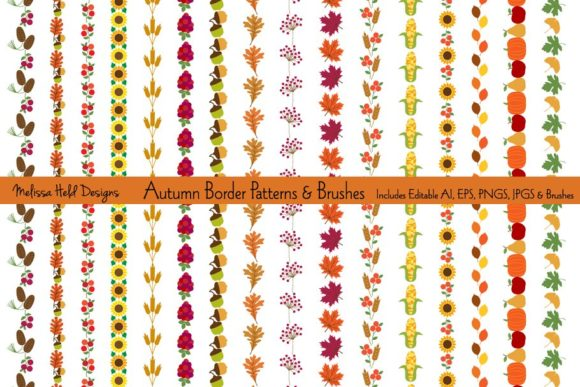 Autumn Border Patterns & Brushes Graphic Illustrations By Melissa Held Designs
