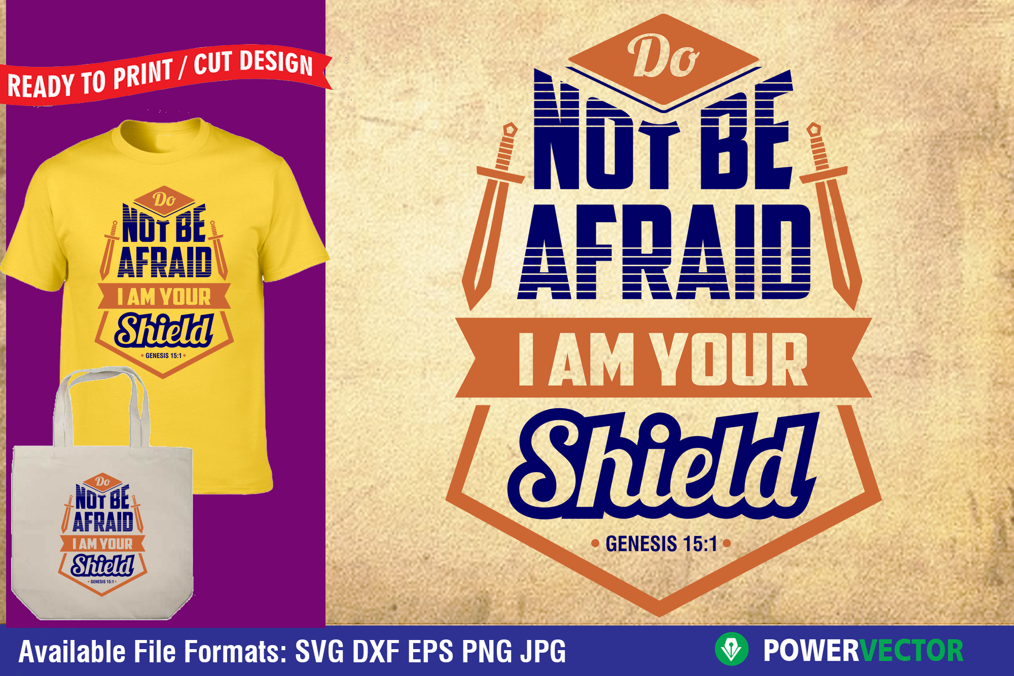 Download Free Bible Verse Do Not Be Afraid Graphic By Powervector Creative for Cricut Explore, Silhouette and other cutting machines.