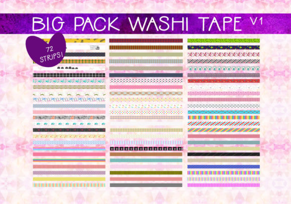 Print on Demand: Big Pack Washi Tape   V1 Graphic Illustrations By CapeAirForce