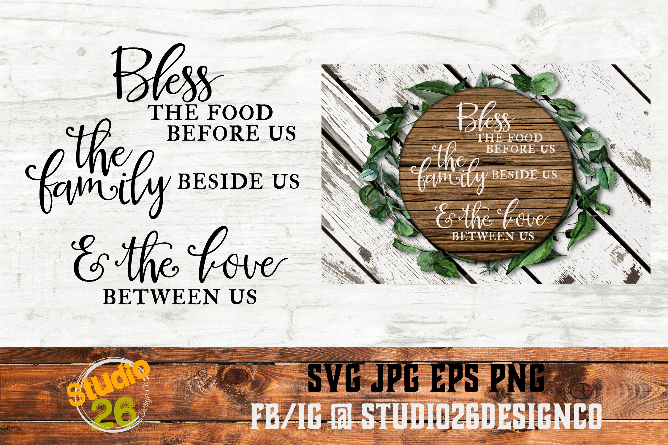 Bless The Food Family Love Graphic By Studio 26 Design Co Creative Fabrica