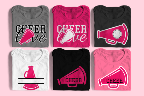 Cheer Megaphone Set Graphic Crafts By DesignedByGeeks