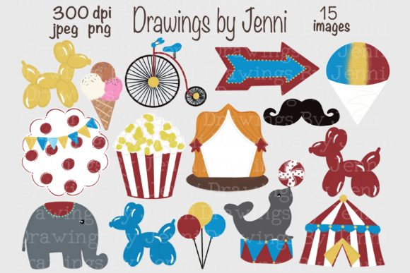 Circus Clipart, Carnival Illustrations Graphic Illustrations By DrawingsbyJenni