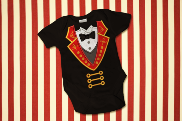 Circus Ringmaster Tuxedo Applique Circus & Clowns Embroidery Design By DesignedByGeeks - Image 1