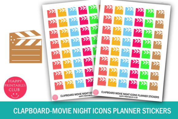 Download Free Clapboard Movie Night Icons Stickers Graphic By Happy Printables for Cricut Explore, Silhouette and other cutting machines.