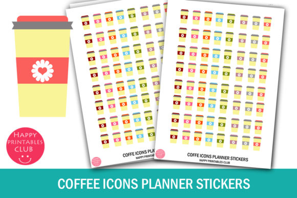 Print on Demand: Coffee Icons Planner Stickers- Coffee Graphic Print Templates By Happy Printables Club