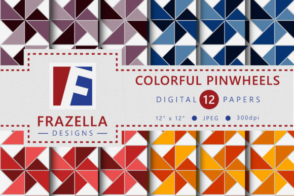 Print on Demand: Colorful Pinwheels Pattern Digital Paper Graphic Patterns By Frazella Designs