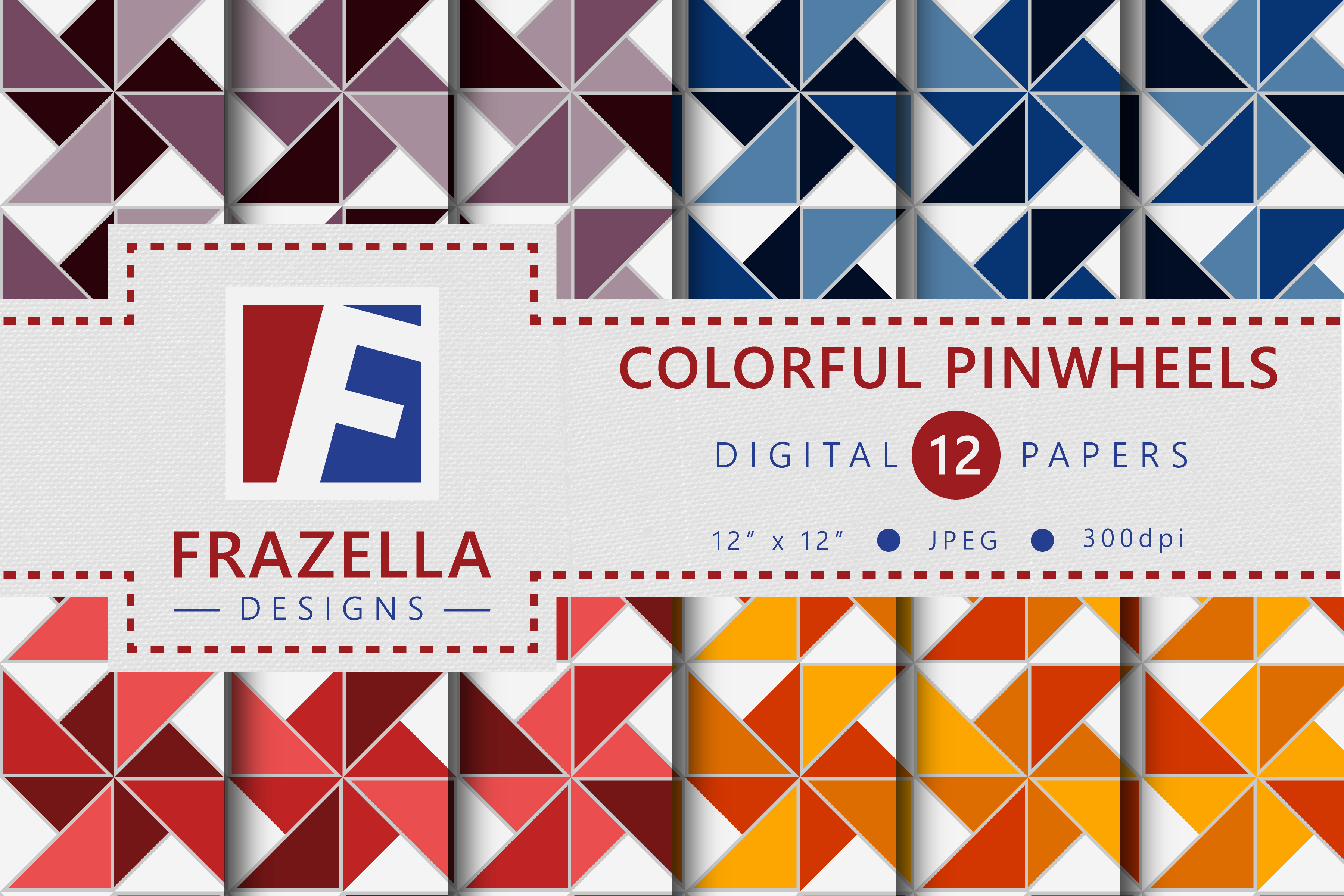 Download Free Colorful Pinwheels Pattern Digital Paper Graphic By Frazella SVG Cut Files