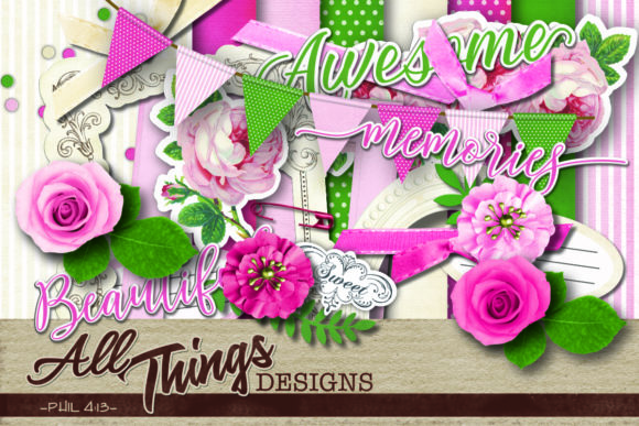 Download Free Coffee Digital Scrapbook Kit Graphic By All Things Designs for Cricut Explore, Silhouette and other cutting machines.