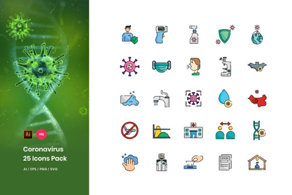Coronavirus Disease Icons Pack Graphic Icons By StringLabs