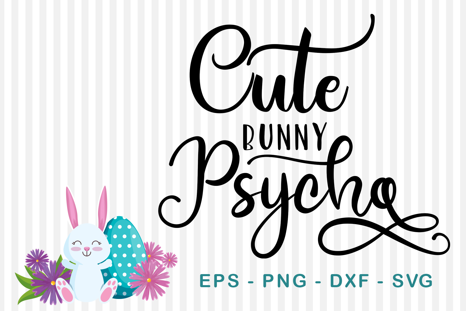 Download Free Cute Bunny Psycho Graphic By Sharon Dmstudio Creative Fabrica for Cricut Explore, Silhouette and other cutting machines.