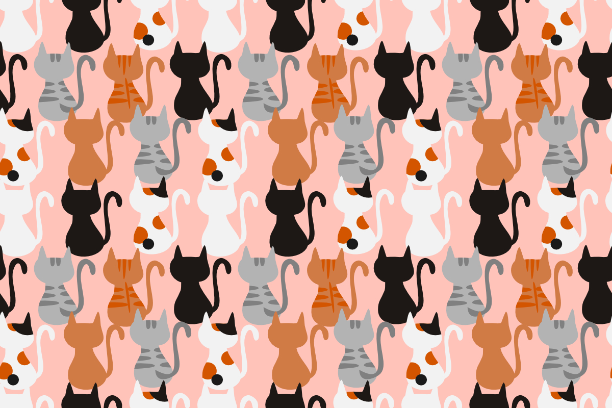 Download Free Cute Cat Seamless Pattern Vector Graphic By Thanaporn Pinp for Cricut Explore, Silhouette and other cutting machines.