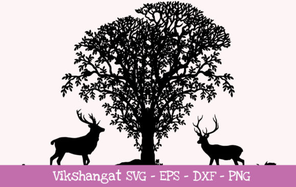Download Free Deers Silhouette Graphic By Vikshangat Creative Fabrica for Cricut Explore, Silhouette and other cutting machines.