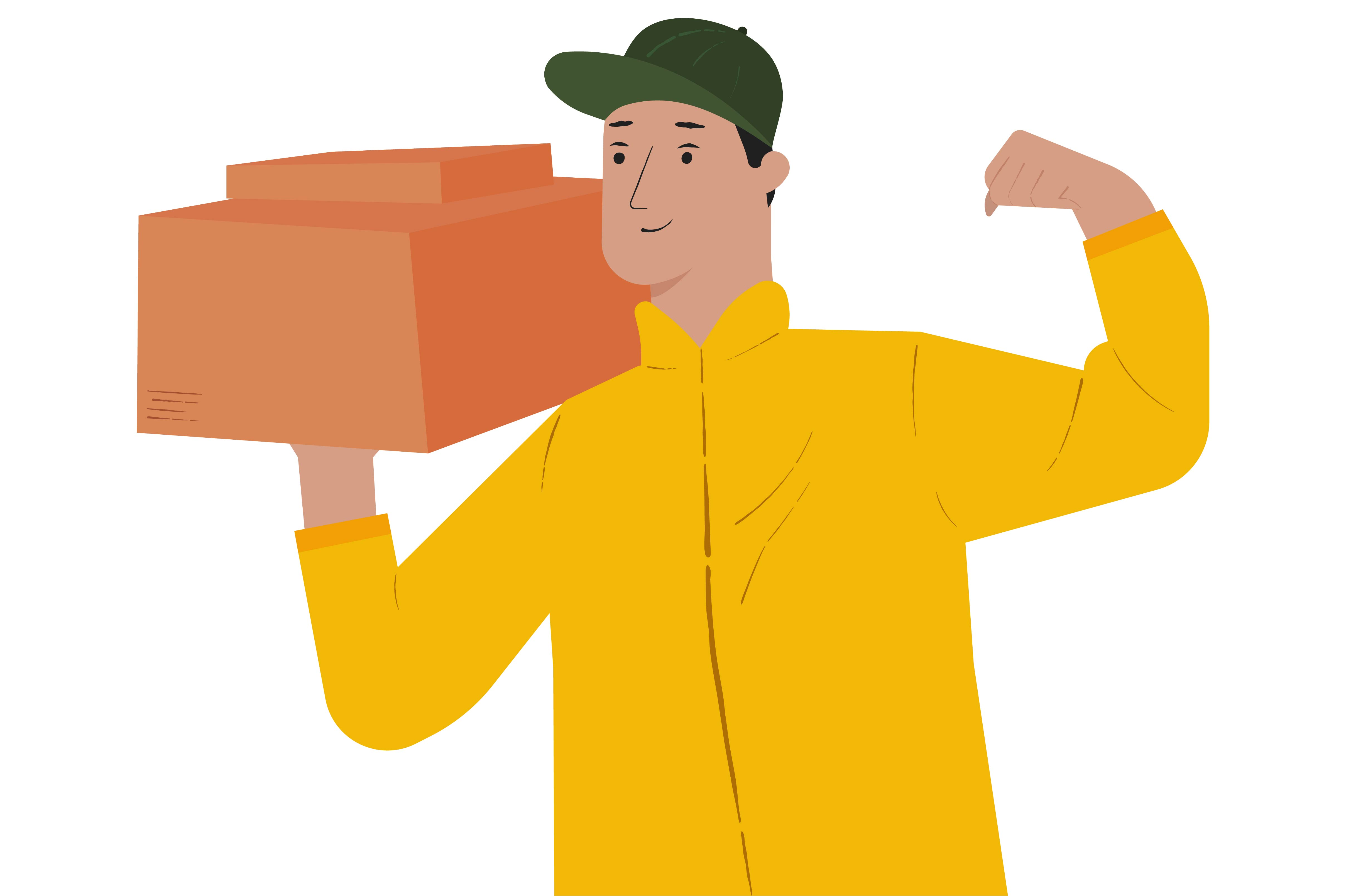 Download Free Delivery Guy Holding Box Graphic By Arausidp Creative Fabrica for Cricut Explore, Silhouette and other cutting machines.