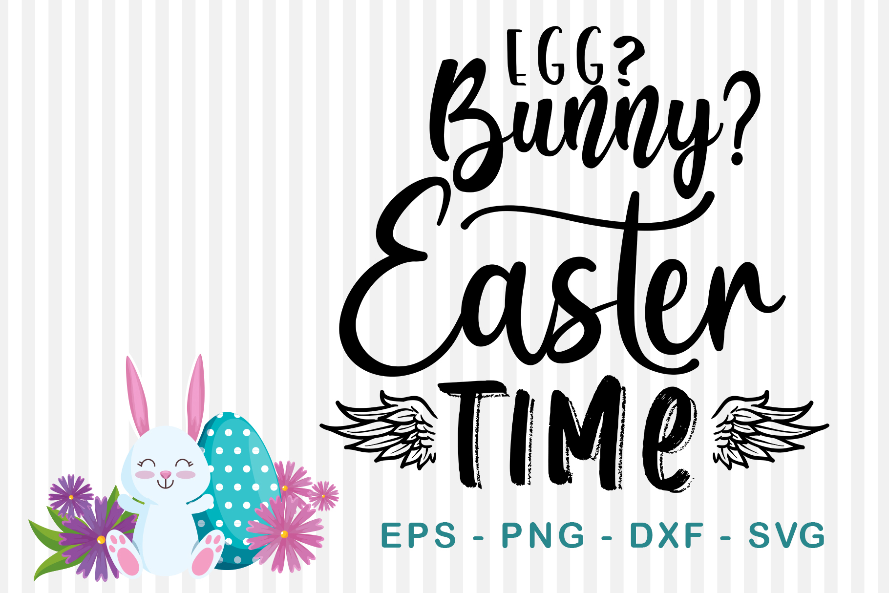 Download Free Egg Bunny Easter Time Graphic By Sharon Dmstudio Creative for Cricut Explore, Silhouette and other cutting machines.