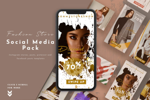 Print on Demand: Fashion Store Social Media Pack Graphic Websites By pixelhivepro