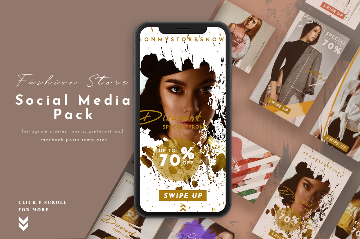 Download Free Fashion Store Social Media Pack Graphic By Pixelhivepro for Cricut Explore, Silhouette and other cutting machines.