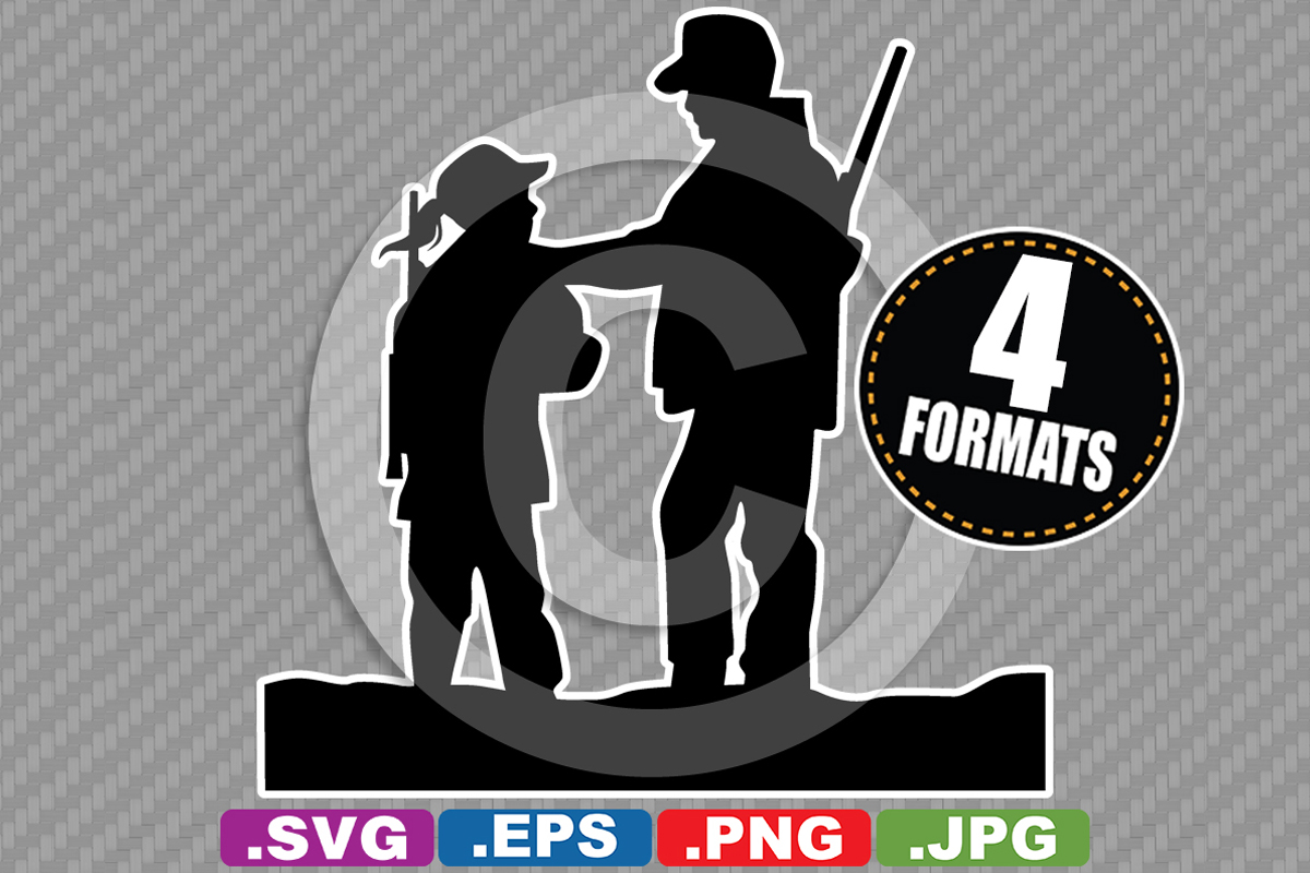 Download Free Father Daughter Hunting Silhouette Graphic By Idrawsilhouettes for Cricut Explore, Silhouette and other cutting machines.