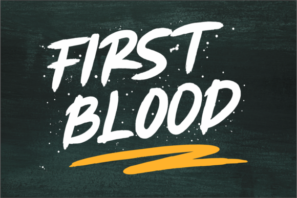 Print on Demand: First Blood Script & Handwritten Font By Girinesia