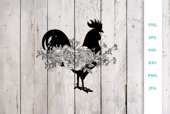 Download Free Floral Rooster Animal Farm Graphic By Sintegra Creative Fabrica for Cricut Explore, Silhouette and other cutting machines.