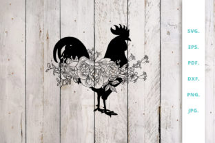 Download Free Floral Rooster Animal Farm Graphic By Sintegra Creative Fabrica SVG Cut Files