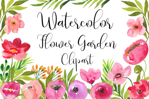 Flower Garden Watercolor Clip Art Graphic Illustrations By PinkPearly