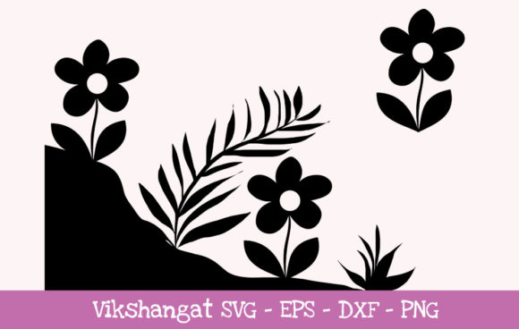 Download Free Flowers Silhouette 3 Graphic By Vikshangat Creative Fabrica for Cricut Explore, Silhouette and other cutting machines.