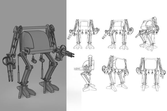 Print on Demand: Gatling Robo Graphic Illustrations By Gblack Id