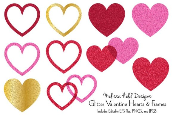 Glitter Valentine Hearts and Frames Graphic Illustrations By Melissa Held Designs
