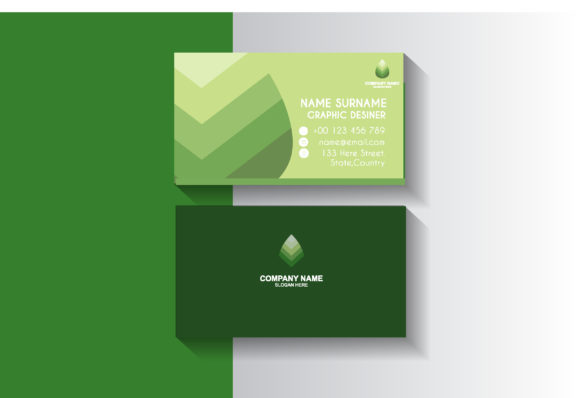 Green Leaf Business Card Design Template Graphic By Sartstudio