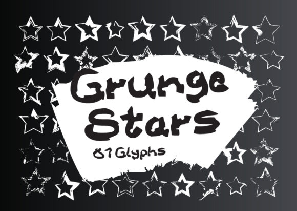 Print on Demand: Grunge Stars Dingbats Font By GraphicsBam Fonts