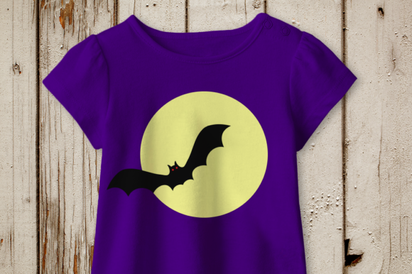 Halloween Vampire Bat on Moon Graphic Crafts By DesignedByGeeks