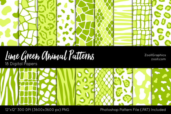 Download Free Lime Green Animal Digital Papers Graphic By Zoollgraphics SVG Cut Files