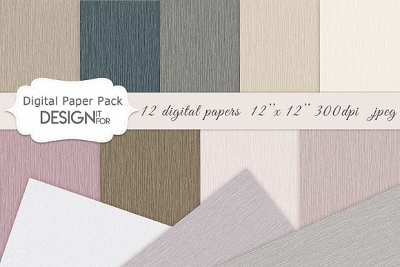 Print on Demand: Linen Digital Paper Pack, Natural Colors Graphic Textures By DesignItfor