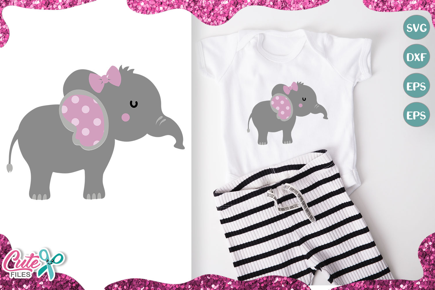 Download Free Little Elephant Its A Girl Graphic By Cute Files Creative Fabrica for Cricut Explore, Silhouette and other cutting machines.