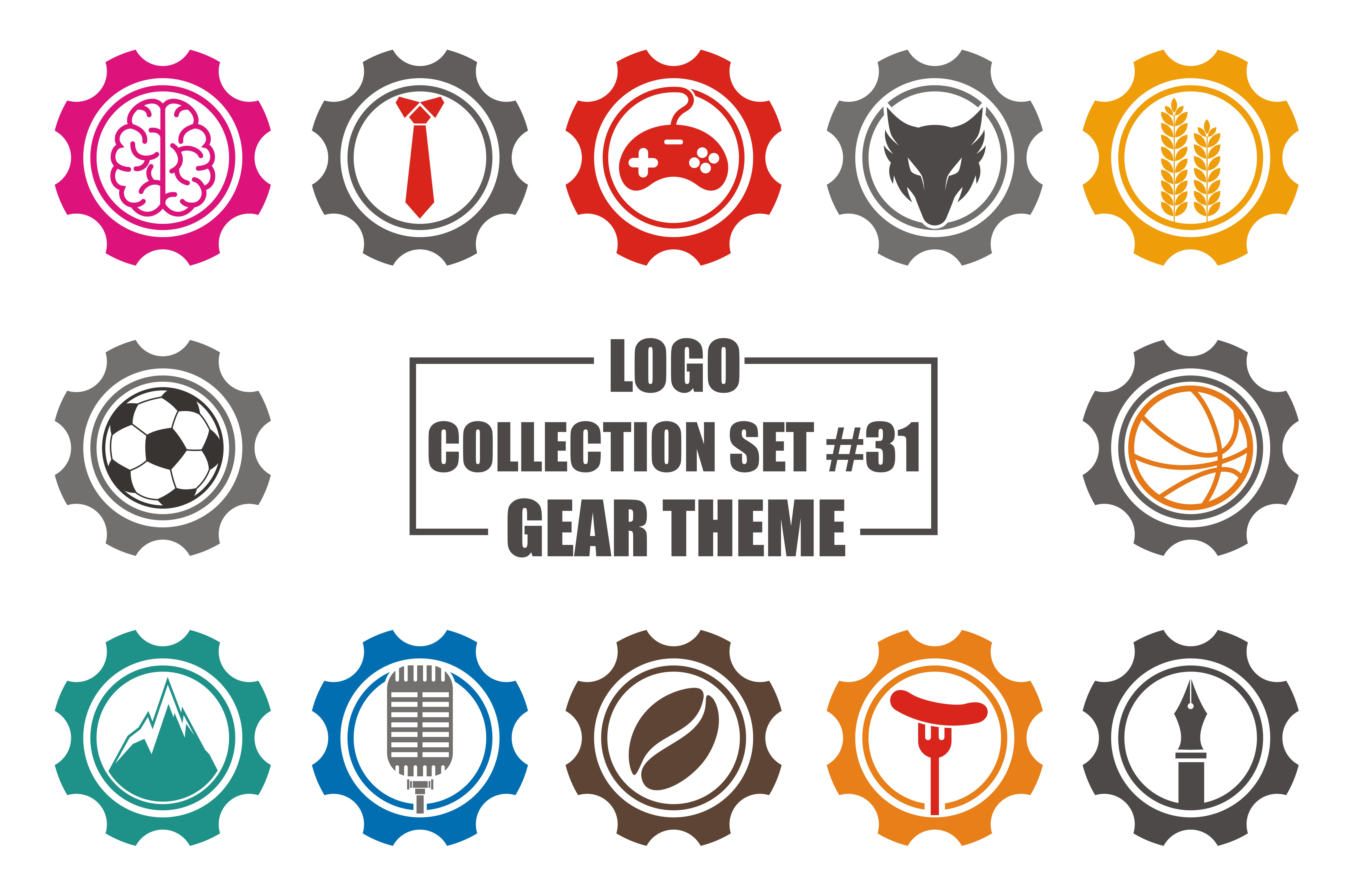 Download Free Logo Collection Set With Gear Icon Theme Graphic By Azkaryzki for Cricut Explore, Silhouette and other cutting machines.