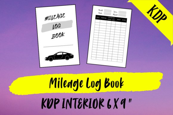 Print on Demand: Mileage Log Book | KDP Interior Graphic KDP Interiors By Hungry Puppy Studio