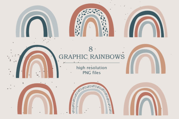 Modern Neutral Color Rainbows Graphic Illustrations By lena-dorosh