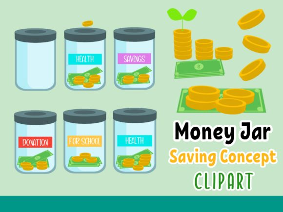 Money Jar - Saving Concept ClipArt Graphic Illustrations By Happy Kiddos