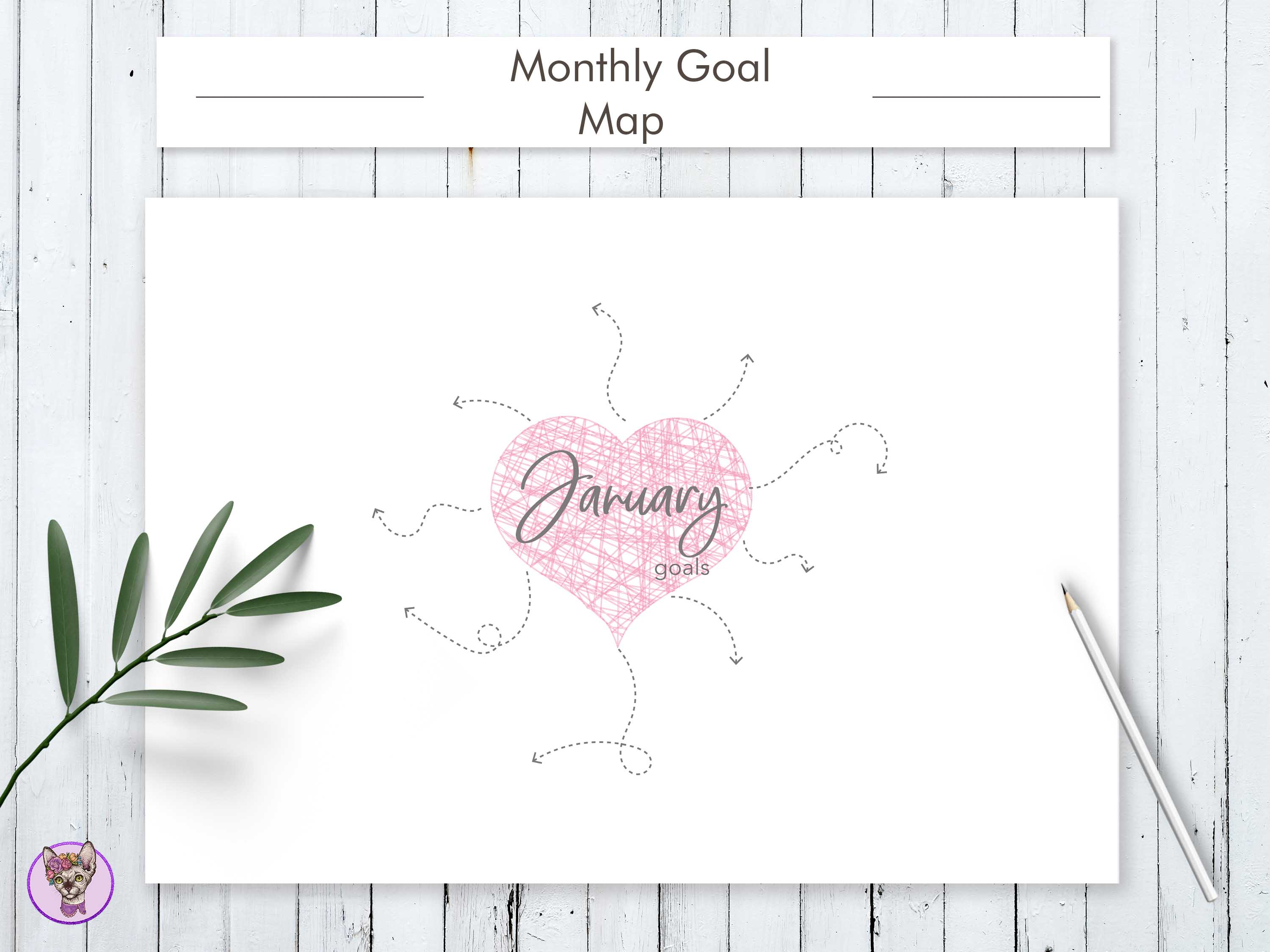 Download Free Monthly Goal Planner Printable Graphic By Helartshop Creative for Cricut Explore, Silhouette and other cutting machines.