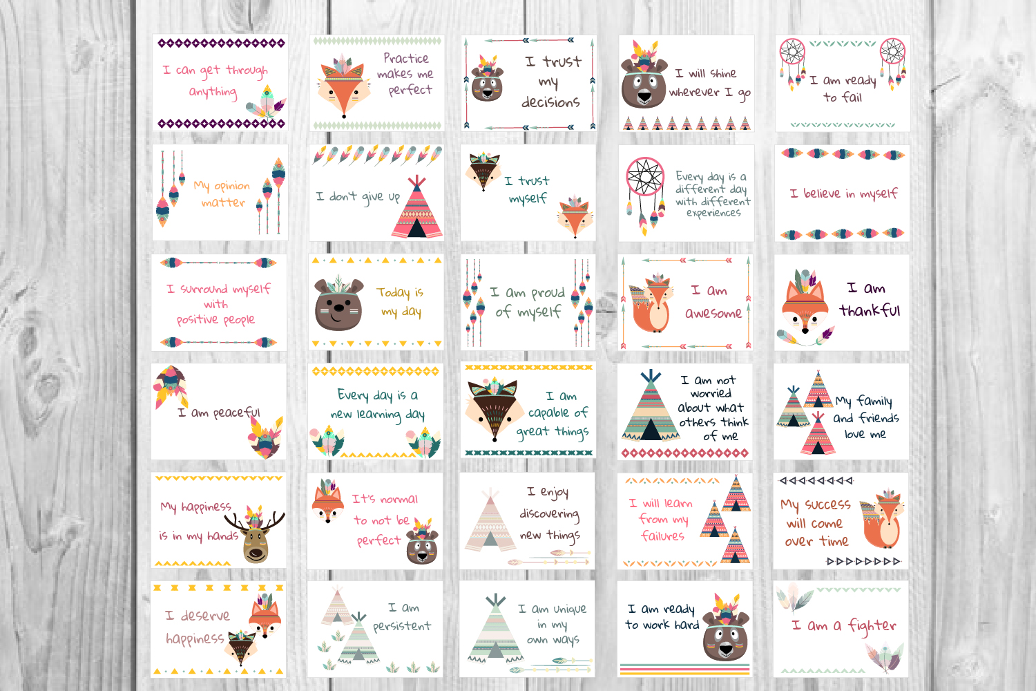 Download Free Motivational Cards Affirmation Cards Graphic By Igraphic Studio Creative Fabrica for Cricut Explore, Silhouette and other cutting machines.