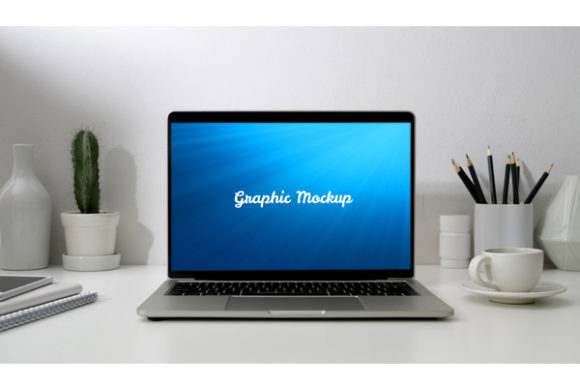Notebook Mockup and White Cup Graphic Graphic Templates By knou