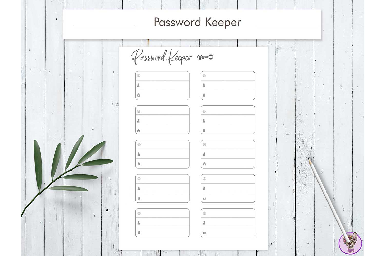 Download Free Password Keeper Printable Graphic By Helartshop Creative Fabrica for Cricut Explore, Silhouette and other cutting machines.