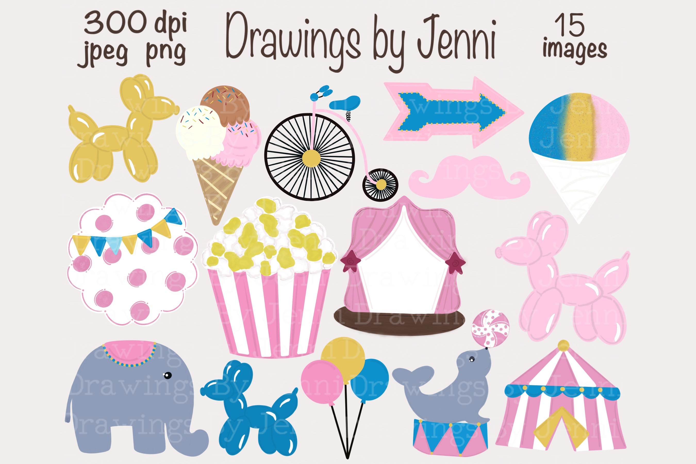 Download Free Pink Circus Clipart Carnival Clipart Graphic By Drawingsbyjenni for Cricut Explore, Silhouette and other cutting machines.