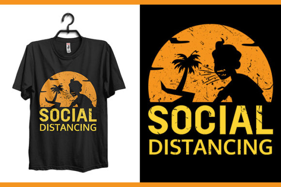Social Distancing T-shirt Design Graphic Print Templates By Storm Brain