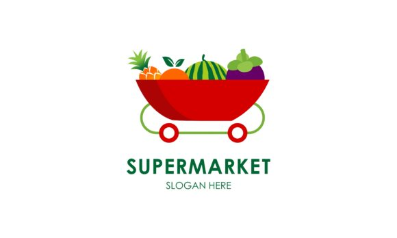 Download Free Supermarket Logo Template Design Vector Graphic By Deemka Studio for Cricut Explore, Silhouette and other cutting machines.