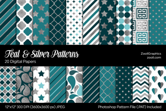 Teal & Silver Digital Papers Graphic Patterns By ZoollGraphics